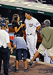 21 June 2011: Washington Nationals catcher Wilson Ramos is interviewed by MASN reporter Debbi Taylor after hitting a walk-off 3-run homer in the bottom of the 9th inning to win the game against the Seattle Mariners at Nationals Park in Washington, District of Columbia. The Nationals rallied from a 5-1 deficit, scoring 5 runs in the bottom of the 9th, to defeat the Mariners 6-5 in inter-league play. Mandatory Credit: Ed Wolfstein Photo
