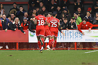 Ashley Nadesan (C) of Crawley Town celebrates his goal in the second half during Crawley Town vs Oldham Athletic, Sky Bet EFL League 2 Football at Broadfield Stadium on 7th March 2020