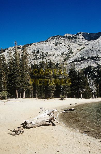 Mountain range, beach and lake, Yosemite National Park, California, USA