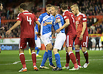 Aberdeen v St Johnstone…22.09.16.. Pittodrie..  Betfred Cup<br />Steven Anderson battles with Ash Taylor in the box<br />Picture by Graeme Hart.<br />Copyright Perthshire Picture Agency<br />Tel: 01738 623350  Mobile: 07990 594431