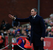 2nd December 2017, bet365 Stadium, Stoke-on-Trent, England; EPL Premier League football, Stoke City versus Swansea City;  Swansea City manager Paul Clement shouts his orders from the sidelines