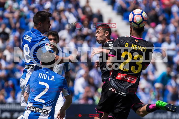 Gabriel Appelt Pires, Tito and Diego Reyes of RCD Espanyol during the match of La Liga between  Club Deportivo Leganes and RCD Espanyol at Butarque  Stadium  in Leganes, Spain. April 16, 2017. (ALTERPHOTOS / Rodrigo Jimenez)