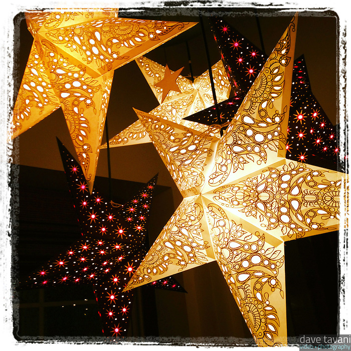 Holiday stars light up the downstairs dining room at Nomad Pizza in Philadelphia on November 25, 2012.