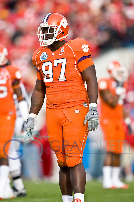 January 1, 2009:      Clemson defensive tackle Dorell Scott (97) during the  64th annual Konica Minolta Gator Bowl between the Nebraska Cornhuskers  and the Clemson Tigers  at Jacksonville Municipal Stadium in Jacksonville, Florida. Nebraska defeated Clemson 26-21.