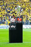 13.08.2014, Signal Iduna Park , Dortmund, GER, DFL-Supercup, Borussia Dortmund vs. FC Bayern Muenchen / M&uuml;nchen, im Bild: Der DFL-Supercup und der Spielball. Hochformat<br /> <br /> Foto &copy; nordphoto / Grimme