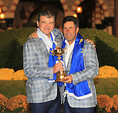 Winning captain Jose Maria Olazabal and Paul Lawrie with the Ryder Cup at the end of Sunday's singles matches at the Ryder Cup 2012, Medinah Country Club,Medinah, Illinois,USA 30/09/2012.Picture: Fran Caffrey/www.golffile.ie.