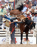 PRCA cowboy Heath DeMoss comes up short of the 8 second time on the Harry Vold Rodeo Company saddle bronc Painted Valley during final round action at the 112th annual Cheyenne Frontier Days Rodeo July 27, 2008 in Cheyenne, Wyoming.