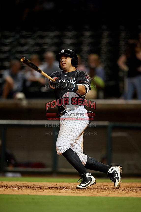Birmingham Barons catcher Alfredo Gonzalez (1) hits a foul ball during a game against the Tennessee Smokies on August 16, 2018 at Regions FIeld in Birmingham, Alabama.  Tennessee defeated Birmingham 11-1.  (Mike Janes/Four Seam Images)