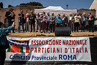 """Tina Costa, Iole Mancini, Arnaldo """"Nando"""" Cavaterra, Rodolfo Lai, Mario Fiorentini, Massimo Pradella: Antifascist Partizans. Members of the Partigiani: the Italian Resistance during WWII.<br /> <br /> Rome, 25/04/2018. Today, to mark the 73rd Anniversary of the Italian Liberation from nazi-fascism ('Liberazione'), ANED Roma & ANPI Roma (National Association of Italian Partizans) held a march ('Corteo') from Garbatella to Piazzale Ostiense where a rally took place attended by Partizans, Veterans and politicians – including the Mayor of Rome and the President of Lazio's Region. From the organisers Facebook page:<<For the 25th of April, the 73rd Anniversary of the Liberation of Italy from nazi-fascism, while facing new threats to the world peace, it is necessary to remember that the Fight for Liberation triggered the greatest, positive, 'break' of the whole modern age of the Italian history. The Fight for the Liberation was supported by a great solidarity of the people. The memory of those who in the partizan struggle, in the camps of imprisonment, internment or extermination, opposed - even until the sacrifice of life - the dictatorship, the greed of territorial conquests, crazy ideologies of race supremacy, constitutes concrete warning against any attempt to undermine the foundations of the free institutions born of the Resistance. Memory is not an instrument of hatred or revenge, but of unity in a spirit of harmony without discriminations...<br /> (For the full caption please read the PDF attached at the the beginning of this story).<br /> <br /> For more info please click here: https://bit.ly/2vOIfNf & https://bit.ly/2r4iJy3 & http://www.anpi.it<br /> <br /> For the Wikipedia's page of the 'Liberazione' please click here: https://en.wikipedia.org/wiki/Liberation_Day_(Italy)<br /> <br /> For a Video of the event by Radio Radicale please click here: https://www.radioradicale.it/scheda/539534/manifestazione-promossa-dallanpi-in-occasione-della-73a-festa-della-liberazi"""