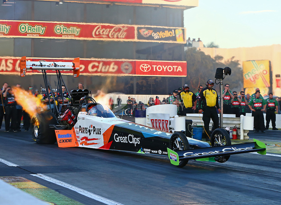 Feb 6, 2015; Pomona, CA, USA; NHRA top fuel driver Clay Millican during qualifying for the Winternationals at Auto Club Raceway at Pomona. Mandatory Credit: Mark J. Rebilas-