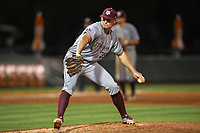 Texas A&M Aggies pitcher Asa Lacy (35) in action against the Tennessee Volunteers in Southeastern Conference play at Lindsey Nelson Stadium in Knoxville, Tennessee, on April 20, 2018. Tennessee beat Texas A&M 7-4. (Danny Parker/Four Seam Images)