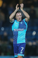 Garry Thompson of Wycombe Wanderers applauds the home fans after the Sky Bet League 2 match between Wycombe Wanderers and Leyton Orient at Adams Park, High Wycombe, England on 17 December 2016. Photo by David Horn / PRiME Media Images.