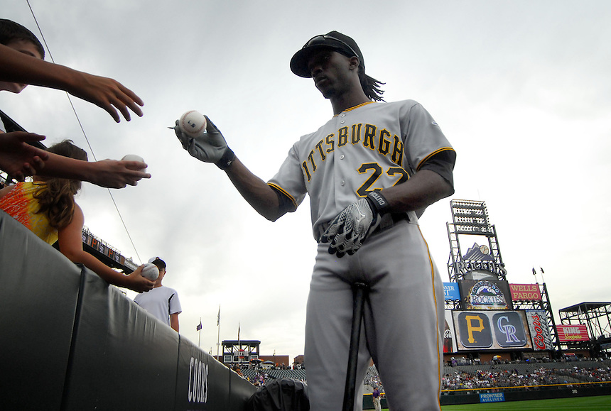 August 13, 2009: Pirates outfielder National League Rookie of the Year candidate Andrew McCutchen signs autographs for fans prior to a regular season game between the Pittsburgh Pirates and the Colorado Rockies at Coors Field in Denver, Colorado. The Rockies beat the Pirates 10-1. *****For editorial use only*****