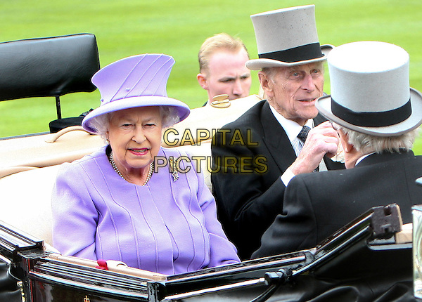 HM Queen Elizabeth II & HRH Prince Philip, Duke of Edinburgh.The Royal Family attend Royal Ascot Ladies Day, Ascot Racecourse, Berkshire, England, UK, June 21st 2012..half length purple lilac matching hat coat dress sitting in riding in carriage pearls pearl necklace her majesty married husband wife grey gray top .CAP/ROS.©Steve Ross/Capital Pictures