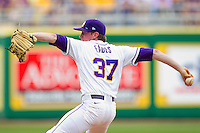 Relief pitcher Ryan Eades #37 of the LSU Tigers in action against the Wake Forest Demon Deacons at Alex Box Stadium on February 19, 2011 in Baton Rouge, Louisiana.  The Tigers defeated the Demon Deacons 4-3.  Photo by Brian Westerholt / Four Seam Images