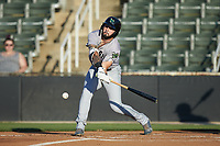 Frankie Tostado (8) of the Augusta GreenJackets at bat against the Kannapolis Intimidators at Kannapolis Intimidators Stadium on June 21, 2019 in Kannapolis, North Carolina. The Intimidators defeated the GreenJackets 6-1. (Brian Westerholt/Four Seam Images)