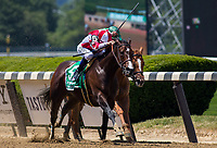 ELMONT, NY - JUNE 10: Songbird #5, ridden by Mike Smith, wins the Ogden Phipps Stakes ahead of Paid Up Subscriber #2, ridden by Javier Castellano,on Belmont Stakes Day at Belmont Park on June 10, 2017 in Elmont, New York (Photo by Jesse Caris/Eclipse Sportswire/Getty Images)