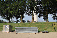 WASHINGTON D.C. - JUNE 27: View of fencing to be installed around the Washington Monument to limit Fourth of July crowds in Washington D.C. on June 27, 2020. Credit: mpi34/MediaPunch<br /> CAP/MPI43<br /> ©MPI43/Capital Pictures