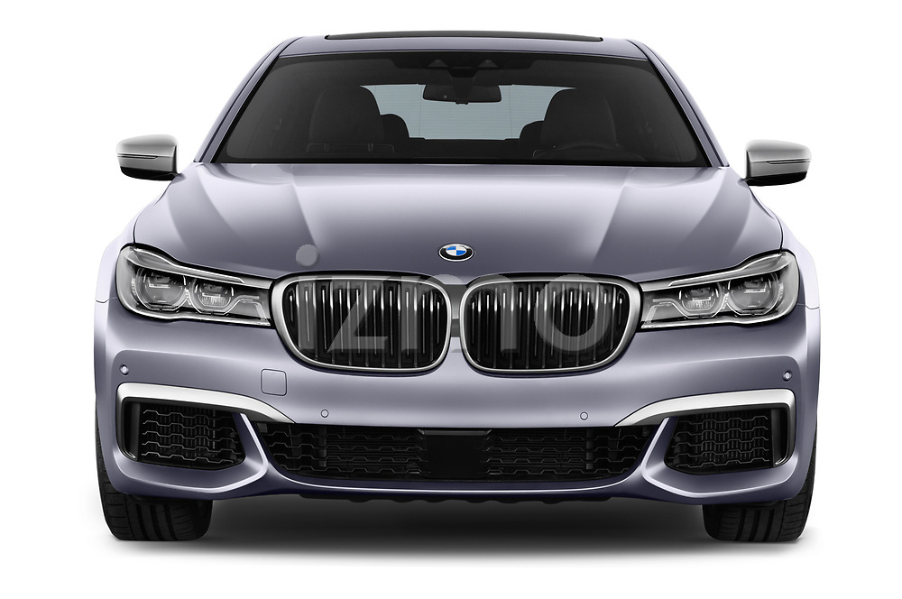 Car photography straight front view of a 2018 BMW 7 Series M760 Li 4 Door Sedan