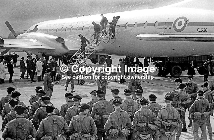 Soldiers of the Prince of Wales Own Regiment arrive 26th April 1969 at RAF Aldergrove, N Ireland, to take up guard duties at public utilities in N Ireland. 196904260158b<br />