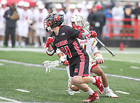 College Park, MD - April 15, 2018: Rutgers Scarlet Knights Ryan Gallagher (34) runs with the ball during game between Rutgers and Maryland at  Capital One Field at Maryland Stadium in College Park, MD.  (Photo by Elliott Brown/Media Images International)