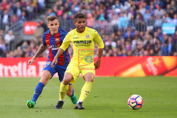 League Santander 2016/2017. Game: 36.<br /> FC Barcelona vs Villarreal CF: 4-1.<br /> Lucas Digne vs Jonathan Dos Santos.