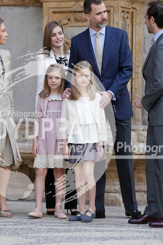 Queen Letizia, King Felipe VI, Princess of Asturias Leonor and Princess Sofia
