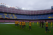 1st October 2017, Camp Nou, Barcelona, Spain; La Liga football, Barcelona versus Las Palmas; The teams goes to the pitch with empty stands all around after the match was forced to be played behind closed doors