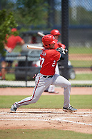 Washington Nationals Alex Dunlap (27) during a Minor League Spring Training game against the Miami Marlins on March 28, 2018 at FITTEAM Ballpark of the Palm Beaches in West Palm Beach, Florida.  (Mike Janes/Four Seam Images)