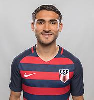 Denver, Co - Sunday, May 28, 2017: Cristian Roldan The U.S. Men's National team portraits.