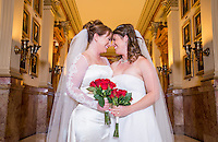 Colorado's first gay couple to marry, Anna  Sher (cq) and Fran Simon (cq) at Colorado's State Capital building in Denver, Colorado, Tuesday, December 10, 2013. <br /> <br /> Photo by Matt Nager