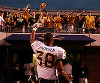 Southern Miss Golden Eagles linebacker Jeremy Snowden (38) signals to fans after the game at Scott Stadium. Virginia was defeated 30-24. (Photo/Andrew Shurtleff)