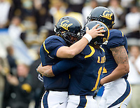 CAL quarterback Kevin Riley celebrates with Marvin Jones of California after Jones scored a touchdown pass from Riley during the game against ASU at Memorial Stadium in Berkeley, California on October 23rd, 2010.  California defeated Arizona State, 50-17.