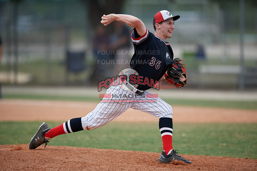 Edgewood Eagles relief pitcher Kyle Semrad (36) during a game against the South Vermont Mountaineers on March 18, 2019 at Lee County Player Development Complex in Fort Myers, Florida.  South Vermont defeated Edgewood 19-6.  (Mike Janes/Four Seam Images)