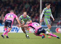 Newcastle Falcons' Kyle Cooper is tackled by Exeter Cheifs' Matt Kvesic<br /> <br /> Photographer Bob Bradford/CameraSport<br /> <br /> Anglo Welsh Cup Semi Final - Exeter Chiefs v Newcastle Falcons - Sunday 11th March 2018 - Sandy Park - Exeter<br /> <br /> World Copyright &copy; 2018 CameraSport. All rights reserved. 43 Linden Ave. Countesthorpe. Leicester. England. LE8 5PG - Tel: +44 (0) 116 277 4147 - admin@camerasport.com - www.camerasport.com