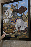 Israel, Lod, a painting depicting St. George killing the dragon at the Greek Orthodox Church of St. George