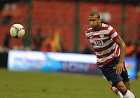 MEXICO CITY, MEXICO - AUGUST 15, 2012:  Terrence Boyd (18) of the USA MNT chases a loose ball against  Mexico during an international friendly match at Azteca Stadium, in Mexico City, Mexico on August 15. USA won 1-0.
