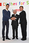 "Novak Djokovic, Tadashi Yanai, president of Uniqlo, officer Yukihiro Nitta announcing the launch of ""Clothes for Smiles"" foundation', press conference on 16 Oct 2012 Tokyo Japan. (Photo by Motoo Naka)"