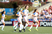 Cary, NC - Sunday October 22, 2017: Samantha Mewis celebrates after scoring her first goal during an International friendly match between the Women's National teams of the United States (USA) and South Korea (KOR) at Sahlen's Stadium at WakeMed Soccer Park. The U.S. won the game 6-0.