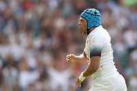 Zach Mercer of England celebrates his first half try. Quilter Cup International match between England and the Barbarians on May 27, 2018 at Twickenham Stadium in London, England. Photo by: Patrick Khachfe / Onside Images