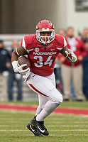 Hawgs Illustrated/BEN GOFF <br /> Kendrick Jackson, Arkansas fullback, runs after a catch in the first quarter against Mississippi State Saturday, Nov. 18, 2017, at Reynolds Razorback Stadium in Fayetteville.