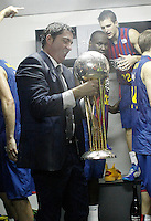FC Barcelona Regal's coach Xavi Pascual, Nathan Jawai and Xabi Rabaseda celebrate the victory in the Spanish Basketball King's Cup Final match.February 07,2013. (ALTERPHOTOS/Acero)