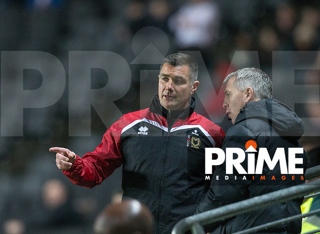 MK Dons Caretaker Manager Richie Barker  talks to the fourth official during the Sky Bet League 1 match between MK Dons and Chesterfield at stadium:mk, Milton Keynes, England on 22 November 2016. Photo by Andy Rowland.
