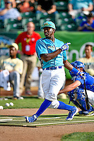 Pioneer League All-Star Ibandel Isabel (54) of the Ogden Raptors at bat during the Home Run Derby at the 2nd Annual Northwest League-Pioneer League All-Star Game at Lindquist Field on August 2, 2016 in Ogden, Utah. The Northwest League defeated the Pioneer League 11-5. (Stephen Smith/Four Seam Images)