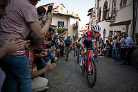 Bauke Mollema  (NED/Trek-Segafredo) up the steep, cobbled & crowded climb in Pinerolo<br /> <br /> Stage 12: Cuneo to Pinerolo (158km)<br /> 102nd Giro d'Italia 2019<br /> <br /> ©kramon