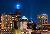 Saint Paul, Minnesota skyline at dusk from Mounds Park.