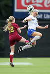 19 August 2012: Duke's Erin Koballa (14) heads the ball over Elon's Nicole Dennion (22). The Duke University Blue Devils defeated the Elon University Phoenix 8-0 at Koskinen Stadium in Durham, North Carolina in a 2012 NCAA Division I Women's Soccer game.