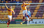 30.03.2019 Motherwell v St Johnstone: Elliott Frear celebrates his opening goal for Motherwell with Chris Cadden