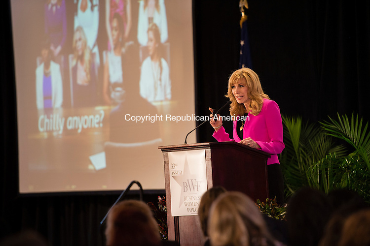 WATERBURY, CT - 23 October 2015-102315EC03-- Leeza Gibbons, an anchor on Entertainment Tonight, speaks about her time on Celebrity Apprentice to the 2015 Business Women's Forum at the Aqua Turf Friday. Erin Covey Republican-American.