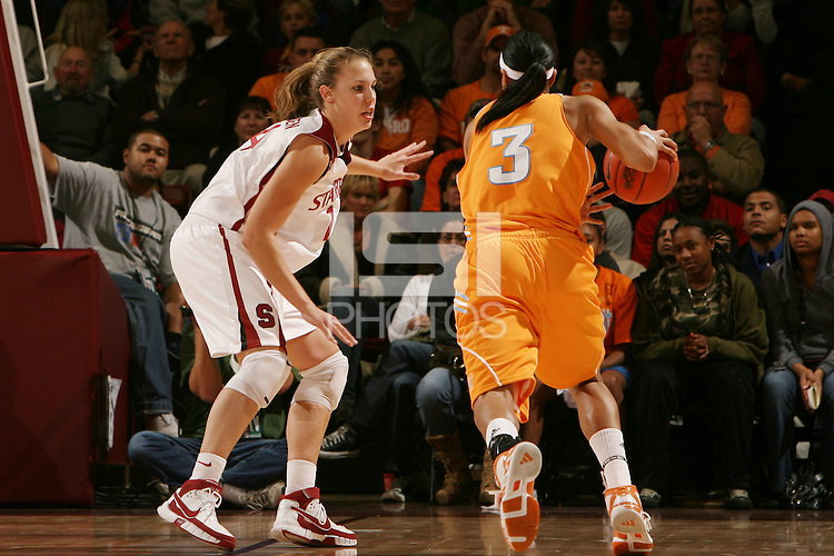 22 December 2007: Kayla Pedersen during Stanford's 73-69 win over Tennessee at Maples Pavilion in Stanford, CA.